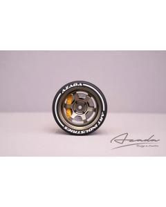 AZ6111-BR-YL - Azada 6 Spoke Steering Wheel - Bronze w/Yellow Caliper