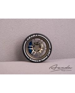 AZ6112-BR-BU - Azada Twin Spoke Steering Wheel For Sanwa/Futaba - Bronze w/Blue Caliper