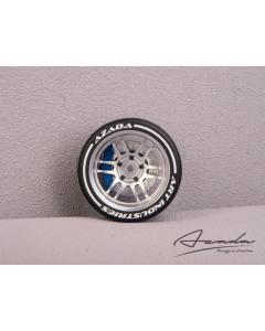 AZ6112-SL-RD - Azada Twin Spoke Steering Wheel For Sanwa/Futaba - Silver w/Blue Caliper