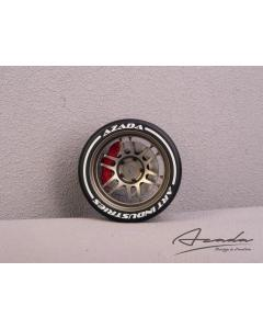 AZ6112-BR-RD - Azada Twin Spoke Steering Wheel For Sanwa/Futaba - Bronze w/Red Caliper