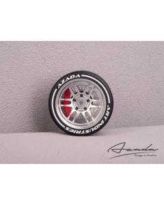 AZ6112-SL-RD - Azada Twin Spoke Steering Wheel For Sanwa/Futaba - Silver w/Red Caliper
