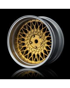 102082GD - MST 501 Adjustable Offset wheels - Flat Gold Centre/Flat Silver Rim