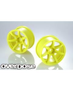 OD2722 - Overdose Work Emotion T7R R-Spec Wheels 7mm - Neon Yellow